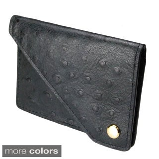 Castello Italian Leather Ostrich Print Flap Cardholder