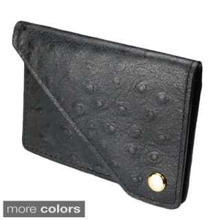 Castello Italian Leather Ostrich Print Flap Cardholder|https://ak1.ostkcdn.com/images/products/P16795949k.jpg?impolicy=medium