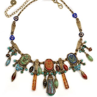 Sweet Romance King Tut Ancient Egyptian Cleopatra Czech Glass Necklace