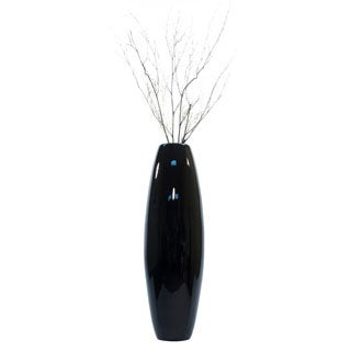 Black Lacquer Cylinder Vase with Branches