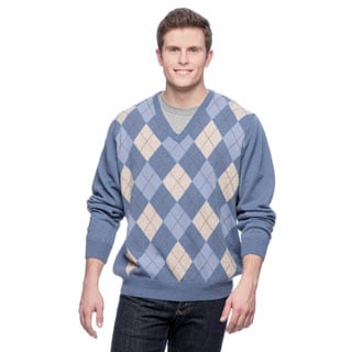 Men's Made in Italy Argyle Cashmere V-Neck Sweater