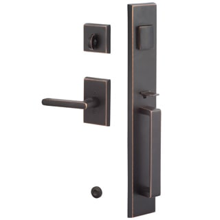 Sure-Loc Vail Front Door Vintage Oil-rubbed Bronze Handle Set with Interior Lever
