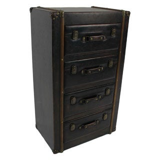 International Caravan Vintage Antique Faux Leather 4-drawer Chest