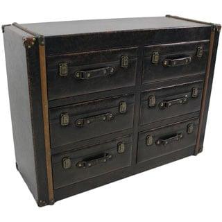 International Caravan Vintage Antique Faux Leather 6-drawer Chest