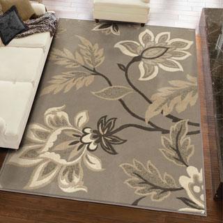 Carolina Weavers Finesse Collection Floweret Grey Area Rug - 3'11 x 5'5