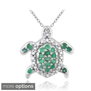 Glitzy Rocks Sterling Silver and Emerald Turtle Necklace