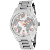 Michael Kors Women's  'Layton' Silvertone Globe Watch