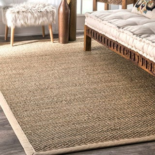 Havenside Home Clearwater Handmade Natural Fiber Cotton Border Seagrass Area Rug (8' x 10') - Thumbnail 0