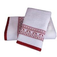 Enchante Reindeer Embellished Turkish Cotton 2-piece Towel Set