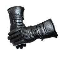 Harley-Style Black Leather Winter Gloves