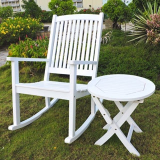 International Caravan Royal Fiji Painted Acacia Rocking Chair and Side Table Set