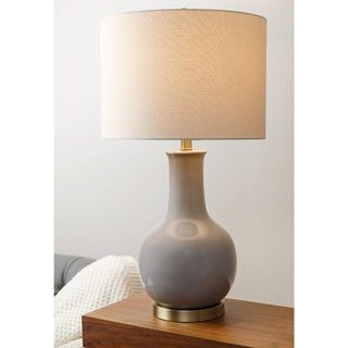 Abbyson Gourd Grey Ceramic Table Lamp