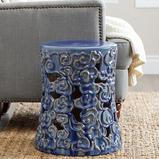 Abbyson Osla Antique Blue Ceramic Garden Stool
