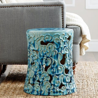 Abbyson Osla Antique Teal Ceramic Garden Stool