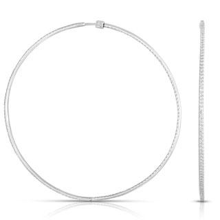 Eloquence 14k White Gold 3ct TDW White Diamond Hoop Earrings (H-I, I1-I2)