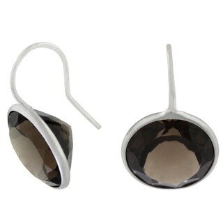 Gioelli Sterling Silver Round-cut Smoky Quartz Dangle Earrings
