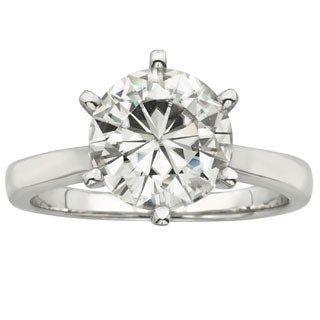 Charles and Colvard 14k Gold 3 1/ 10ct TGW Round Forever Brilliant Moissanite Solitaire Ring (3 options available)