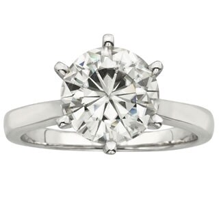 Charles and Colvard 14k Gold 3 1/ 10ct TGW Round Forever Brilliant Moissanite Solitaire Ring - White