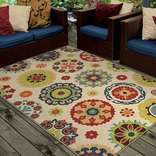 "Indoor/ Outdoor Promise Collection Salsalito Beige Olefin Indoor/Outdoor Area Rug (3'10"" x 5'5"")"