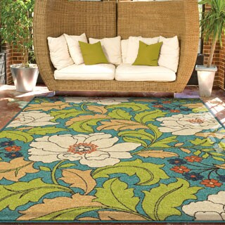 Carolina Weavers Indoor/Outdoor Santa Barbara Collection Floral Race Multi Area Rug (5'2 x 7'6)