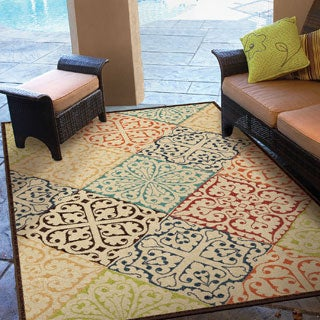 "Indoor/ Outdoor Promise Collection Walker Multi Olefin Indoor/Outdoor Area Rug (7'8"" x 10'10"")"