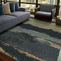 Carolina Weavers Grand Comfort Collection Curry Blue Shag Area Rug (5'3 x 7'6)