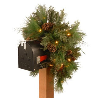 36-inch White Pine/ LED Lights Mailbox Arrangement