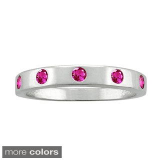 10k White Gold Round-cut Gemstone Birthstone Ring