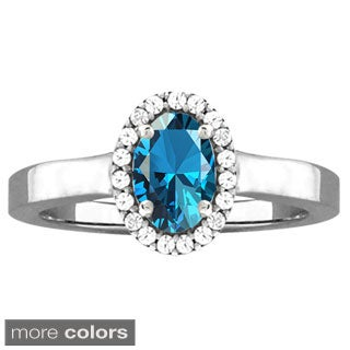 10k White Gold Designer Gemstone and Cubic Zirconia Birthstone Ring