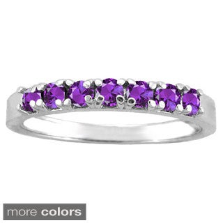 10k White Gold Round-cut Gemstone Designer Birthstone Ring