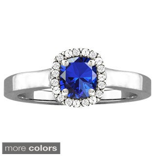 10k White Gold Cushion-cut Designer Gemstone Birthstone Ring
