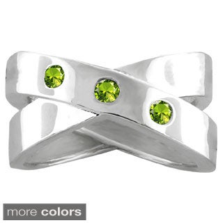 10k White Gold 3-Birthstone X-shaped Ring