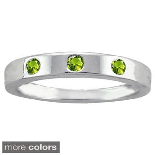 10k White Gold 3 Round-cut Birthstone Inlay Ring