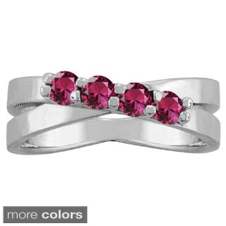 10k White Gold 4-Birthstone X-style Ring