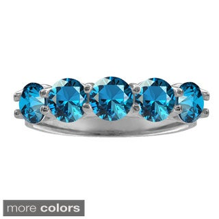 10k White Gold Five-stone Round-cut Birthstone Ring