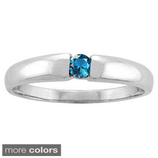 10k White Gold Bezel-set Round-cut Birthstone Ring