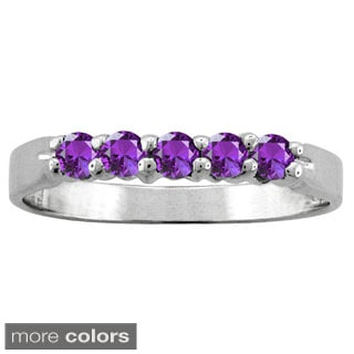 10k White Gold 5-stone Birthstone Ring