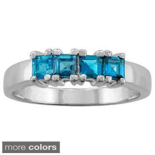 10k White Gold Designer 4-stone Princess-cut Birthstone Ring