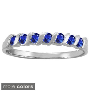 10k White Gold 7-stone S-shaped Birthstone Ring