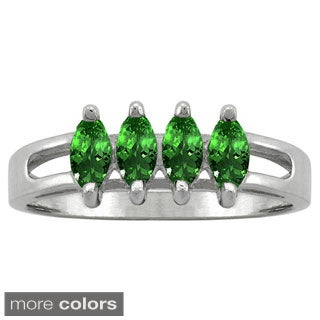 10k White Gold Designer 4-stone Marquise-cut Birthstone Ring