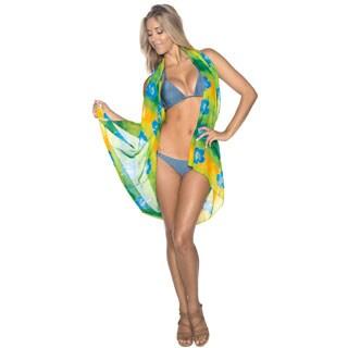 La Leela Soft Chiffon Skirt Floral Coverup Hawaiian Beach Sarong 72X42 In Green