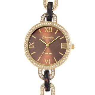 Geneva Platinum Rhinestone Roman Numeral Chain Watch