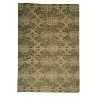 Hand-knotted Ikat Uzbek Design Taupe Wool Rug (10' x 14'5)