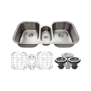 MR Direct 4521-16 Triple Bowl Stainless Steel, Two Grids, and Standard and Basket Strainers