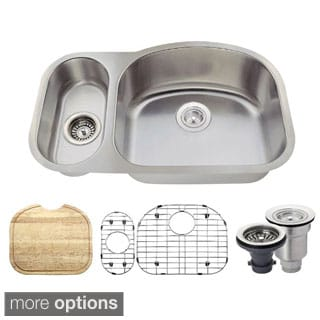 MR Direct 529 Kitchen Ensemble Stainless Steel Offset Double Bowl Sink