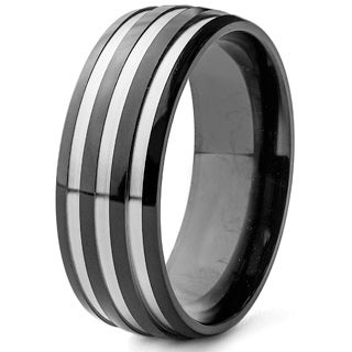 Men's Black Plated Polished Titanium Grooved Domed Comfort Fit Ring - 8mm Wide