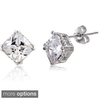 ICZ Stonez Silver Cubic Zirconia Square Stud Earrings