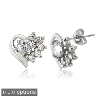 ICZ Stonez Silver Cubic Zirconia Heart Stud Earrings