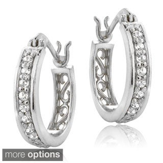 ICZ Stonez Silver Cubic Zirconia Hoop Earrings