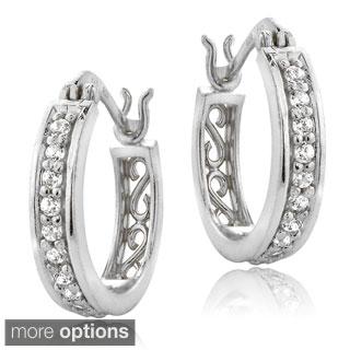 ICZ Stonez Silver Cubic Zirconia Hoop Earrings